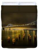 Bay Bridge And Clouds At Night Duvet Cover