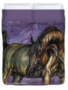 Bay Horse On The Purple Background Duvet Cover