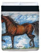 Bay Horse Running Duvet Cover