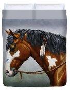 Bay Native American War Horse Duvet Cover