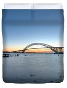 Bayonne Bridge Longe Exposure Sunset Duvet Cover