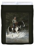 Big Creek Man On Spotted Horse Duvet Cover