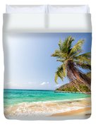 Beach And Palm Tree Duvet Cover