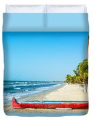 Beach And Red Canoe Duvet Cover