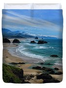 Beach At Ecola State Park Duvet Cover
