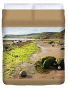 Beach At Robin Hoods Bay Duvet Cover by Deborah Benbrook