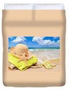 Beach Bag With Sun Hat Duvet Cover