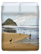 Beach Birds Impasto Duvet Cover