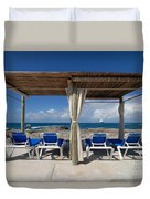 Beach Cabana With Lounge Chairs Duvet Cover