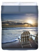 Beach Chairs Duvet Cover by Debra and Dave Vanderlaan