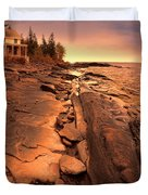 Beach House On Rocky Shore Duvet Cover