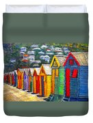 Beach Houses At Fish Hoek Duvet Cover