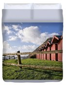 Beach Huts At Branscombe Duvet Cover