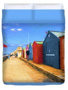 Beach Huts At Cromer Duvet Cover
