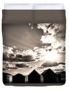 Beach Huts In Black And White Duvet Cover