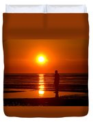 Beach Sculpture At Crosby Liverpool Uk Duvet Cover