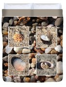Beach Shells And Rocks Collage Duvet Cover