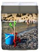 Beach Toys Duvet Cover by Luis Alvarenga