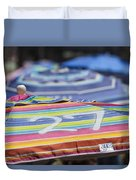 Beach Umbrella Rainbow 4 Duvet Cover
