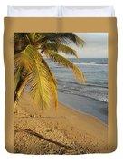 Beach Under Golden Palm Duvet Cover