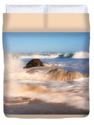 Beach Waves Smoothly Flowing Over The Rocks Fine Art Photography Print Duvet Cover
