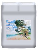 Beach With Palm Trees Duvet Cover