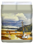 Beached Boat And Fishing Boat At Gippsland Lake Duvet Cover