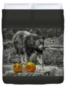 Bear And Pumpkins Duvet Cover