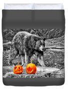 Bear And Pumpkins Too Duvet Cover
