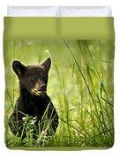 Bear Cub In Clover Duvet Cover