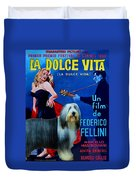 Bearded Collie Art Canvas Print - La Dolce Vita Movie Poster Duvet Cover