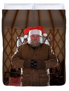 Bearded Man With Christmas Hat Duvet Cover