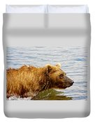 Bear's Eye View Of Swimming Grizzly In Moraine River In Katmai Duvet Cover
