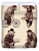 Bears On Bicycles Duvet Cover