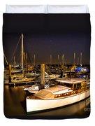 Beaufort Sc Night Harbor Duvet Cover by Reid Callaway