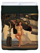 Beautiful 1940s Pin-up Girl Standing Duvet Cover