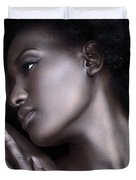 Beautiful Black Woman Face With Shiny Silver Skin Duvet Cover