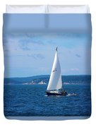 Beautiful Boat Sailing At Puget Sound Duvet Cover