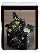 Beautiful Butterfly On A Kodak Brownie Camera Duvet Cover