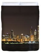 Beautiful Chicago Skyline With Fireworks Duvet Cover by Adam Romanowicz