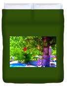 Beautiful Colored Glass Ball Hanging On Tree 1 Duvet Cover