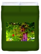 Beautiful Colored Glass Ball Hanging On Tree 2 Duvet Cover