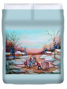Beautiful Day For Pond Hockey Winter Landscape Painting  Duvet Cover