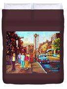 Beautiful  Downtown City Stroll  Cafe Paintings Montreal Restaurants On Crescent Street C Spandau Duvet Cover