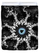 Beautiful Fractal Artwork Black White And Blue Duvet Cover
