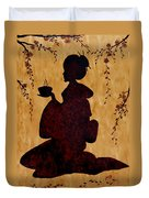 Beautiful Geisha Coffee Painting Duvet Cover