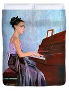 Beautiful Girl Playing Piano Duvet Cover