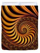 Beautiful Golden Fractal Spiral Artwork  Duvet Cover