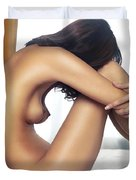 Beautiful Nude Woman Sitting On Bed With Arms Around Her Knees Duvet Cover