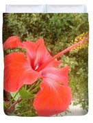 Beautiful Red Hibiscus Flower With Garden Background Duvet Cover